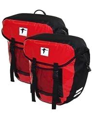 Red Loon - Alforjas para bicicleta (2 unidades, resistentes al agua, fijación al portaequipajes), color negro o rojo y negro rojo/negro