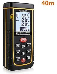 Tacklife Advanced  A-LDM01 40 Laser-Entfernungsmesser Distanzmessgerät (Messbreich 0,05~40m/±2mm mit LCD Hintergrundbeleuchtung, Staub- und Spritzwasserschutz IP 54) inkl.Batterie und Schutztasche