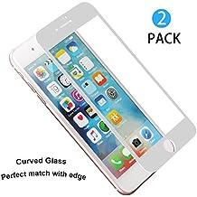[2 unidades] iPhone 7 Plus Protector de Pantalla, WEOFUN Perfectamente 3D Touch Completa Cristal Templado Película de Pantalla para iPhone 7 Plus: Anti-arañazos, Anti-aceite, Anti-burbuja, Anti-huella (0,33mm PET Blanco)
