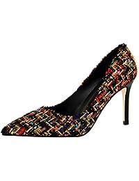 Xue Qiqi Pumps Sandalen Tanz Schuh Stilvolle Girl High Heels Feine mit Wilden Einfache Butt - Farbe Stricken Tipp...