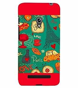PrintVisa Romantic Love Paris 3D Hard Polycarbonate Designer Back Case Cover for Asus Zenfone 5