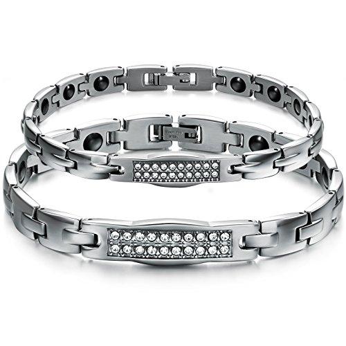 """Oidea 2PCS Herren Damen Armband, Edelstahl Strass Gesundheit Magnetarmband """"H"""" Design Armreif Freundschaftsarmband, Silber"""