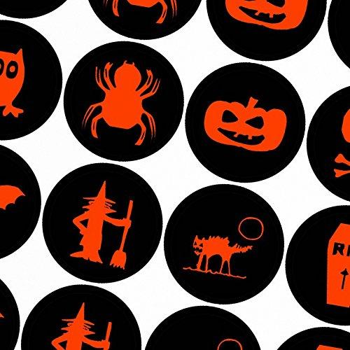 (Halloween Dekoration / Aufkleber / Sticker / 48 Stück / Verschiedene Motive / Dekorieren / Farbe Schwarz / Selbstklebend / Rund)