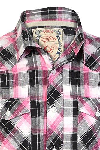 Tokyo Laundry Hommes Chemise À Carreaux Maryland Col Large Manche Courte À Carreaux Haut Rose