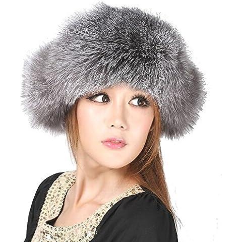 ZYONG*La mujer de pieles de visón Real Fox Fur Hat al estilo ruso Winter Warmer Auricular gris