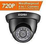 ZOSI CCTV 720P 1.0MP 4-in-1 CVBS/AHD/CVI/TVI Video Überwachungskamera Außen Dome Kamera, 3.6mm Linse, 20M IR Nachtsicht, mit OSD, Schwarz.