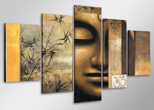 Quadro su tela budda 100 x 50 cm 5 tele modello nr xxl 6410. i quadri sono montati su telai di vero legno. stampa artistica intelaiata e pronta da appendere