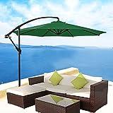 Greenbay Sonnenschutz/Sonnenschirm für Garten/Terrasse, Ampelschirm mit Kurbel, Freischwinger, Rattan, 3m, grün