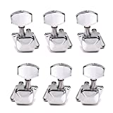 Healifty 6 PCS Semiclosed String Tuning Pegs Keys Guitar Tuner Machine Heads Acoustic Electic Guitar Bass String Tuning Pegs 3L3R (Silver)