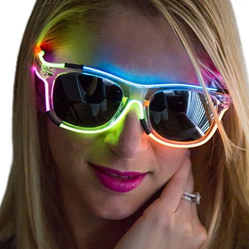 NEON NIGHTLIFE Herren-Regenbogen-Frame/Leicht getönt Linsen Wayfarer 55mm Light Up Gläser