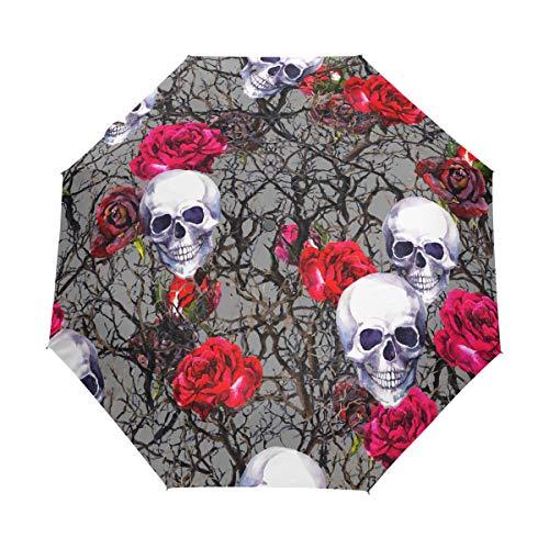 XiangHeFu Regenschirm Bramble Tree Flower Rose Skull Auto Öffnen Schließen 3 Falten Lightweight Anti-UV - Bramble Rose