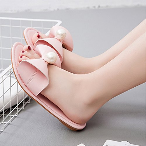 ALUK- Été - vêtement extérieur pantoufles plates antidérapantes mot chaussures de plage sweet student ( Couleur : Rose , taille : 36-Shoes long230mm ) Rose