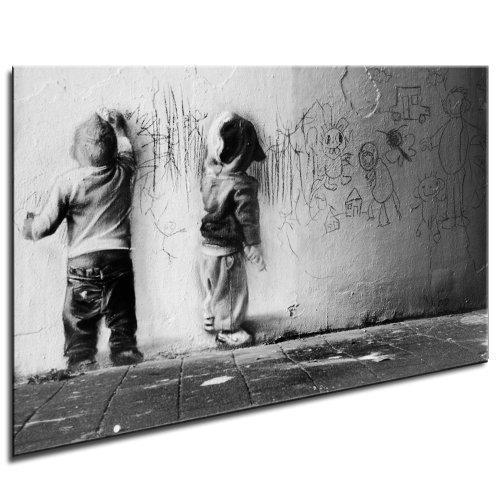 """Banksy Kunst """"GRAFFITI"""" auf Leinwand Bild 120x80cm k. Poster ! Bild fertig auf Keilrahmen ! Pop Art Gemälde Kunstdrucke, Wandbilder, Bilder zur Dekoration - Deko / Top 100 """"Banksy"""" Bilder - Graffiti / Street Art Kunstdrucke"""