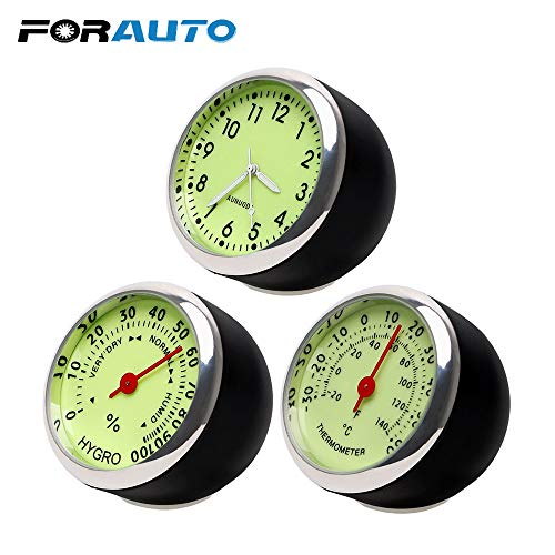 FASHLADY FORAUTO Car C-Thermometer-Hygrometer Mechanics Ornaments Quarz-Uhr-Mini Luminous Car-Styling-Auto-Dekoration für Auto-Start: Thermometer