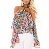 TianWlio Langarmshirt Damen T-Shirt Damen Langarmshirt Mode Frauen von der Schulter Oberteile Regenbogen Tunika Drucken Streifen Bluse Lässige Oberteile T-Shirt