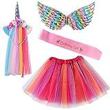 VAMEI 4 Pièces Licorne Cosplay Costume Jupe Tutu Rose Bandeau Serre-tête Filet Ailes de Licorne Princesse Volants Déguisement Bandoulière de fête d'anniversaire Decoration
