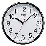 Plumeet 25cm Orologio da Muro Silenzioso con Numero Grandi E Graziosi e Movimento Digitale Senza Ticchettio, Orologi da Parete Design Moderno Ottimo per la Camera da Letto e la Cucina (Nero)