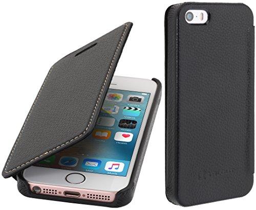(StilGut Leder-Hülle kompatibel mit iPhone 5/5s/iPhone SE Book Type, schwarz)