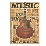 ShengshiZZ 2019 Neuf 51.5x36cm Musique Guitare Rétro Papier Kraft Affiche Vintage Style Décorative Affiche Imprimé Mural Café Magasin Barre pour Maison - H01