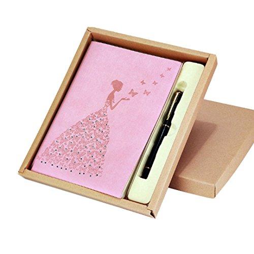 AiSi Carnet de Notes A5 avec Papier Ligné Journal Intime Couvercle Cuir PU pour Homme et Femme Ros
