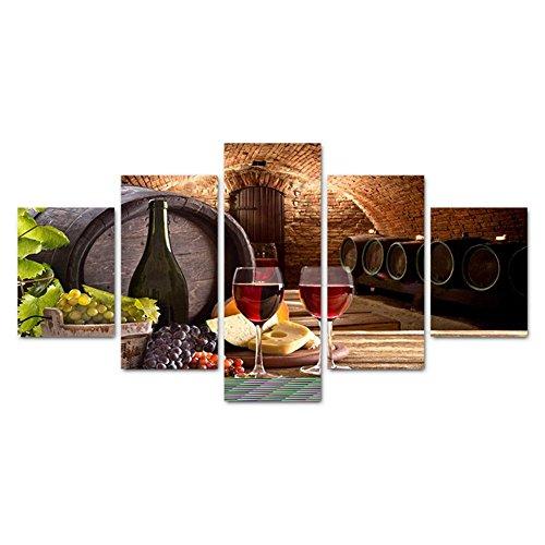 PIO GFRWallart Leinwandbilder moderne Wandkunst Wein Poster 5 Blatt Wohnzimmer Wanddekoration Moderne Giclee Leinwand Drucke , With Borders , SizeB