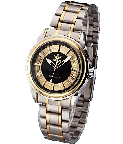 SEWOR Mens Automatic Mechanical Self Wind Wrist Watch with Vintage Design (Gold Black)