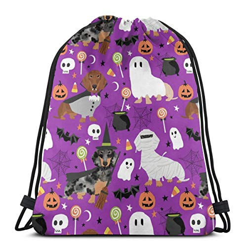 Dackel Halloween Hund Hunde Halloween Spooky Ghost - Purple_737 Kordelzug Rucksack Rucksack Umhängetaschen Leichte Sporttasche zum Wandern Yoga Gym Schwimmen Travel - Baby Dackel-halloween