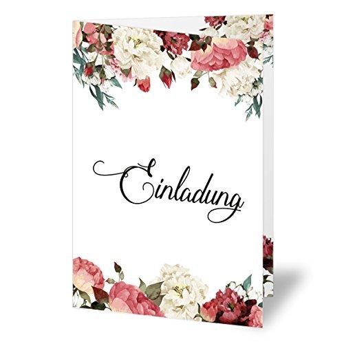 (30 x) Einladungskarten runder Geburtstag Blumen Rosen Edel Einladungen