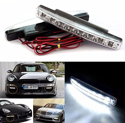 Tongshi 2pc 8 LED de marcha diurna de la luz corriente DRL de la niebla del coche de la lámpara impermeable blanca 12V DC