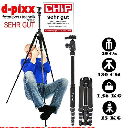 Fotostativ togopod Patrick ALUminium inklusiv 360° Kugelkopf, Tasche, Schnellwechselplatte. ( Packmaß:39cm, Maxihöhe:180cm, Kopf Tragkraft:15kg, Stativ Gewicht: 1,5kg ) Kamerastativ (180 Monday Deal Cyber)