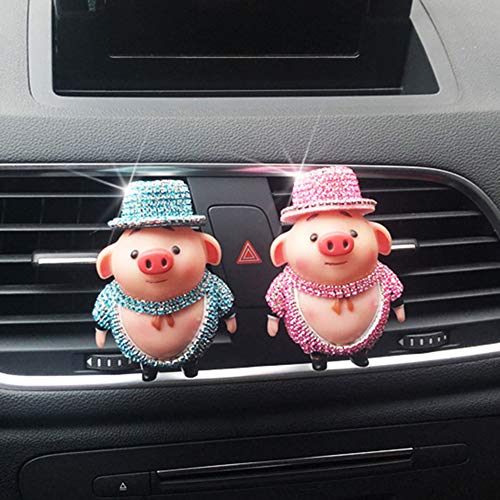 Gracorgzjs Auto Aroma Clip, Cartoon Strass Schwein Auto Air Vent Lufterfrischer Parfüm Aroma Clip Diffusor Decor Rosa -