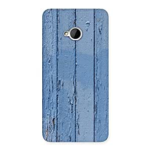 Delighted Blue Wood Wall Print Back Case Cover for HTC One M7