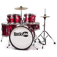 RockJam RJ-105MR kompletter 5-Teile Junior Schlagzeug-Satz mit Becken (Trommelstecken, einstellbarer Thron, Zubehör) rot