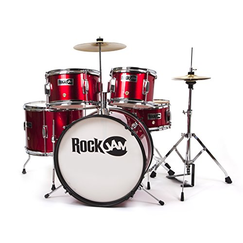 rockjam-complete-5-piece-junior-drum-set-with-cymbals-drumsticks-adjustable-throne-and-accessories-r