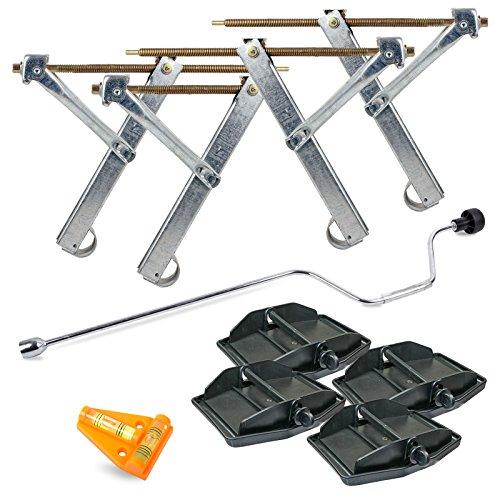 Ausdrehstützen 4 Stück + Handkurbel 19 mm + 4er Set Stützplatten + Kreuzwasserwaage für Wohnwagen