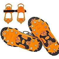 JTENG Steigeisen Schuhspikes mit 10 Edelstahl Zähne und Silikon Band Anti Rutsch auf EIS und Schnee für Wandern Bergschuhe Stiefel usw.