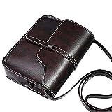 DAY.LIN Damen Retro Mini Diagonale Umhängetasche Vintage Geldbörse Tasche Leder Umhängetasche Umhängetasche (Kaffee)
