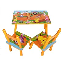 Children Kids Wooden Table and 2 Chairs Set Yellow Zoo Animals Design