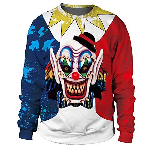 MISTYU Halloween Crewneck Sweatshirt Unisex, Neuheit Weihnachten 3D Print Langarm Pullover Sweatshirts Pullover, T-Shirt Halloween Night Clown Sweater-L (Men's Night Elf Kostüm)
