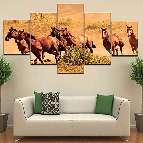 jjshily 5 Panel/Piece HD Print Alte Kriegspferde der Evangelisation Tier Moderne Wand Poster Leinwand Kunst Malerei Wohnzimmer, 40X100