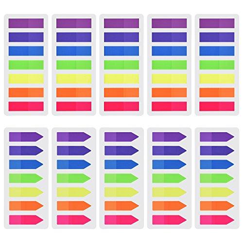 (1400 Stück Haftmarker Film Index Flaggen Pfeil Tabs Farbige Haftnotizen Beschreibbare Tabs für Seitenmarkierung, 10 Set, 7 Farbe)
