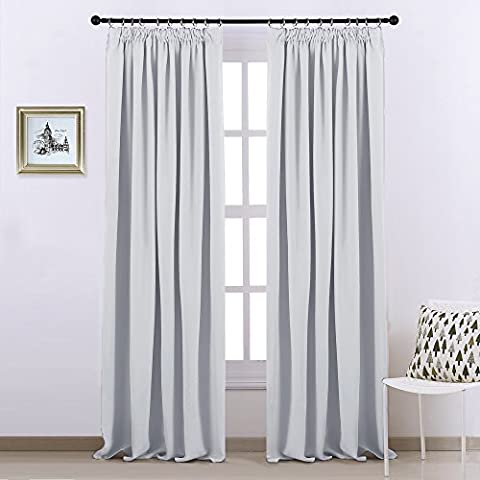 Blackout Pencil Pleat Windows Curtains - PONYDANCE Plain Thermal Insulated Blackout Curtain Draperies for Window Treatment Bedroom Room Darkening, 2 Panels, W90