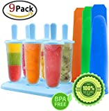 GeMoor 6pcs Popsicle Moulds Set with 3pcs BPA-free Silicone Ice Cream Molds Tray (9pack)