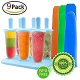 GeMoor Stieleisformer 6 Stück Eis am Stiel und 3 Stück Eislutscher Formen aus Silikon BPA Frei, Eisformen für Kinder und Erwachsene -