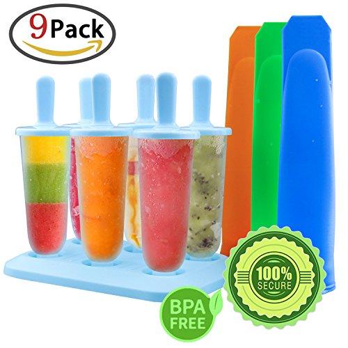 Genießen Sie Gesunde (GeMoor Stieleisformer 6 Stück Eis am Stiel und 3 Stück Eislutscher Formen aus Silikon BPA Frei, Eisformen für Kinder und Erwachsene)