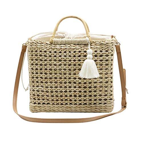 Nicololfle Sommer Strandtasche Woven Handmade Crochet Braid Taschen Crossbody Modische Stroh Vintage Handtasche Für Frauen Mädchen Handmade Crochet Mode