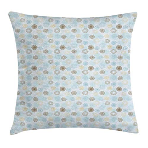 Brown and Blue Throw Pillow Cushion Cover, Twirls Vortex Design Geometric Curved Lines Hypnotic Elements, Decorative Square Accent Pillow Case, Pale Blue Mustard Umber 18x18in