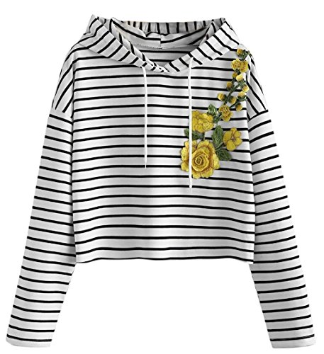 d ❀ JYJMFrauen-reizvolle gedruckte Long Sleeve Short Sweatshirt Hoodies Tops Bluselange Bluse für Frauen Mädchen (L, Weiß) (Hoodie Allen Halloween)