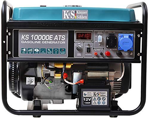 Könner & Söhnen KS 10000E ATS Stromerzeuger, 18 PS 4-Takt Benzinmotor, E-Start, Notstromautomatik, Automatischer Spannungsregler, 8000 Watt, 1x16A, 1x32A (230V) Generator