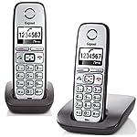 Gigaset E310 Duo Telefon, Schnurlostelefon / 2 Mobilteile, Grafik Display, Dect-Telefon, ohne Anrufbeantworter, Freisprechfunktion, Analog Telefon, schwarz